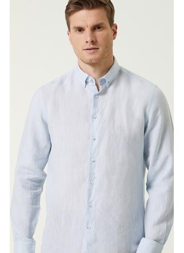 NetWork 1079788 Erkek Slim Fit Keten Gömlek Mavi